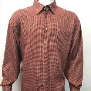 Bugatchi Uomo Rust Red Tan LS Shirt Size XXL 2XL